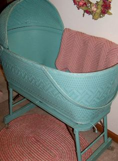 Upcycled Vintage Hand Painted Baby Bassinet (Wicker-Wood)