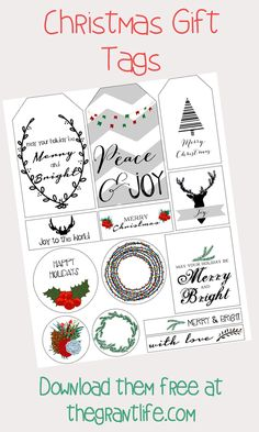FREE Christmas gift tags!  Download them at thegrantlife