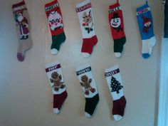 Knitted Christmas Stockings - The top row made by my grandmother, and
