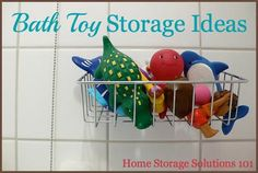 Bath toy storage and organization ideas, including DIY and homemade methods {on Home Storage Solutions 101}