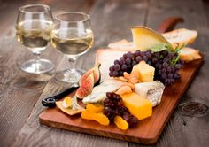 Nice example of serving of fruit and cheese