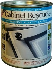 Paint for Kitchen Cabinets - Cabinet Rescue® Melamine Laminate - Product Label. Sold at Home Depot