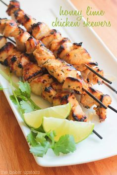 Honey lime chicken skewers - so flavorful and easy to make! www.thebakerupstairs.com