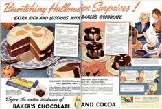 Vintage Bakers Chocolate and Cocoa Halloween themed ad with two lovely dessert recipes (1937). #Halloween #1930s #vintage #food #ads