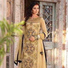 Beige Net Double Layered Abaya Style Churidar Kameez