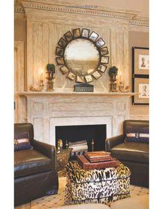Leather chairs and animal print ottoman