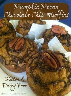 Gluten-Free, Dairy-Free Pumpkin Pecan Chocolate Chip Muffins