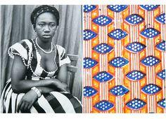 Seydou Keita portraits accompanied by African hand block printed paper