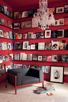 Red wall + books