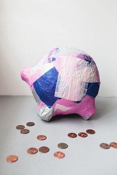 DIY paper mache piggy bank