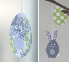 How to make hanging Easter eggs.  Free Easter printable. Found via TipJunkie.com