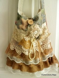 SALE - Gypsy Bag, large Shabby Chic bag, soft thick green floral, cream and green ruffled lace, doily