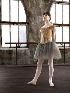 "Tiler Peck, muse for Susan Stroman's new musical based on Degas' sculpture, ""Little Dancer Aged Fourteen"". Photograph by Matthew Karas ♥ Wonderful! www.thewonderfulworldofdance.com #ballet #dance"