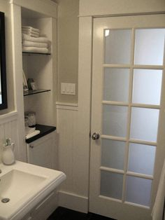 frosted glass door. This is the plan for the basement bathroom and entrance from the laundry room.