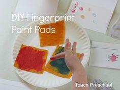 diy fingerprint, fingerprint paint, stamp pad, bug, paints, activ, teach preschool, finger paint, paint pad