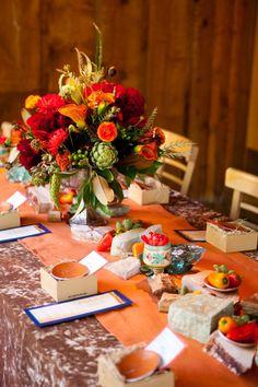 decor, orang, flower centerpieces, blue, flowers autumn party, happy colors, rustic centerpieces, wedding colors, menu card