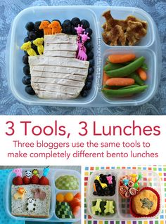 Four moms use animal cutters, fun little forks and an @EasyLunchboxes container to make lunches for their kids.