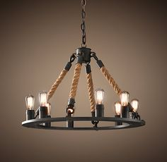 Rope Filament Round Chandelier Small