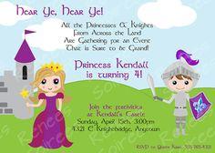 Princess & Knight customizable party invitation.     #ReneesSoirees