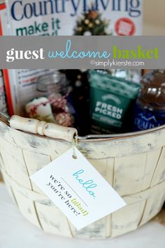 Are you having guests over the summer? It's so easy to put together this guest welcome basket, and they will love it!!  FREE PRINTABLE included!  #simplykierste #guestideas #freeprintable