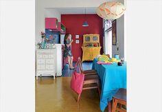 cimento queimado colorido... móveis coloridos....