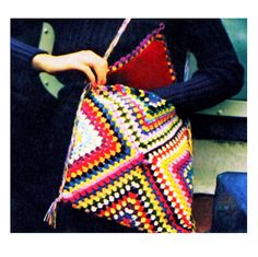 1970's Granny Square Chic Messenger Shoulder Bag: vintage pattern for sale