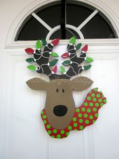 Reindeer Door Hanger Reindeer Wreath by CarolinaMoonCrafts on Etsy