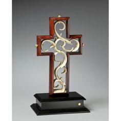 Unity Cross-- Artisan Series Rich Bing Cherry with Vintage Glazed Ivory Center
