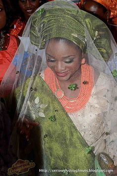 green adorned veil to match aso oke