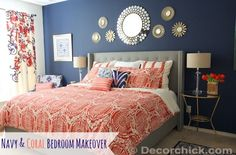 Navy and Coral Bedroom Makeover @Decorchick.com decor, mirror, idea, coral bedroom, color, bedroom makeovers, master bedrooms, hous, navy blue bedroom