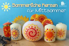 How to make beautiful candles for midsummer / Anleitung zum Kerzen verzieren für Mittsommer. summer solstice craft