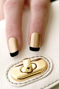 Cute gold French manicure