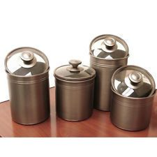 Kamenstein Brushed Bronze 4-piece Kitchen Canister Set NEW