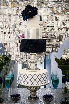 Amazing cake at a Blue, White, Silver and plenty of shine Wedding Party!  See more party planning ideas at CatchMyParty.com!
