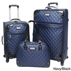Beverly Hills Country Club 3-piece (1 Checked - 2 Carry On) Quilted Spinner Luggage Set   Overstock.com