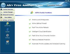 Free Anti Spyware Ensures Lowest consumption of CPU and memory