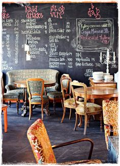 """I love the idea of a chalkboard wall for Annabel's Diner (which will first appear in Book (or """"Track"""") 2: Fight the Good Fight.  #ArtsAngels"""