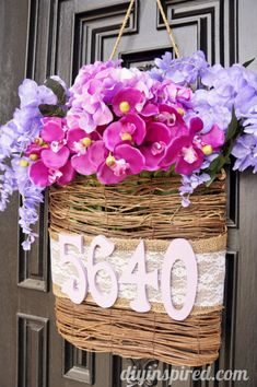 Radiant Orchid DIY Spring Door Decoration - http://www.diyinspired.com/radiant-orchid-diy-spring-door-decoration/ #craftmonthlove #radiantorchid #springtrends