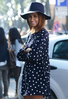 polka dots, dress, outfit
