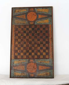19th century. painted gameboard.