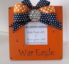 Orange Auburn WAR EAGLE  frame with polka dot bow by twosisters76, $40.00
