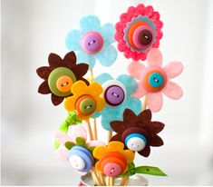lalaloopsy party.  button bouquet