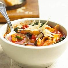 This Italian soup includes the traditional ingredients--pasta, spinach, beans, sweet pepper, tomatoes, and zucchini--and can be ready to serve in less than 30 minutes.
