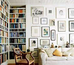 gallery wall + bookshelves