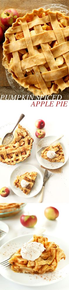 PERFECT 8 ingredient Pumpkin Spiced Apple Pie with pumpkin butter and pie spice! The best dessert for fall. #vegan