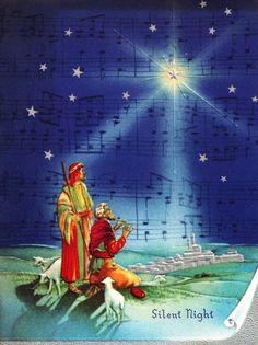 Vintage Christmas Card Shepherds Star of Bethlehem