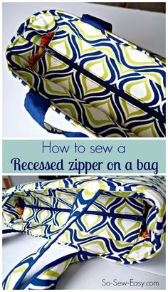 Video and tutorial for how to sew a recessed zipper on a bag. Any bag pattern can be adapted to have a recessed zipper. So Sew Easy