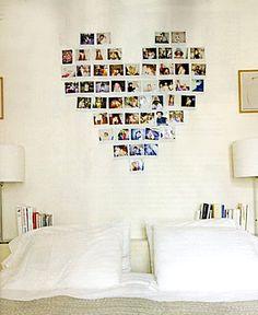 polaroid wall art photo colage ideas, apartment decorations, photo display, heart shapes, hous, bedrooms, apartments, polaroid heart, photo collages