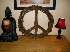 DIY Twig & Tree Branch Peace Sign Wreath