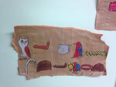 Hieroglyphics- Part of a sequence of art lessons on Ancient Egypt. Children make papyrus using brown parcel paper, watered down PVA glue and apply to A3 card. Apply strips of paper horizontally and vertically to give an uneven effect. For writing their names children sketch in pencil and use oil pastels for adding colour. A worthwhile and enjoyable activity for KS2 children.